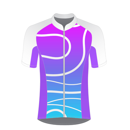 Cycling jersey mockup. T-shirt sport design template. Road racing uniform blank. Illustration