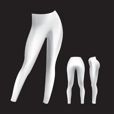 Damen-Leggings-Modell in Vorder-, Rücken- und Größenansicht. Vektor isoliertes Bild auf schwarzem Hintergrund. Realistische Sportbekleidungsvorlage. Weiße Fitness-Leggings. Vektorgrafik