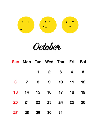 Cute 2019 calendar set with smiles. Doodle style. Positive funny smiles every month.