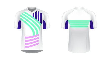 Templates of sportswear designs for sublimation printing. Uniform blank for triathlon, cycling, running competition, marathon and racing games. Vector mockup for design.