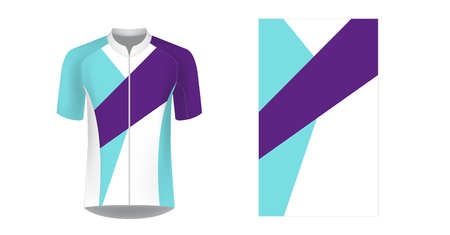 Templates of sportswear designs for sublimation printing. Uniform blank for triathlon, cycling, running competition, marathon and racing games. Vector mockup. 免版税图像