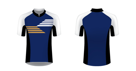 Templates of sportswear designs for sublimation printing. Uniform blank for triathlon, cycling, running competition, marathon and racing games. Vector mockup. Foto de archivo - 111206535