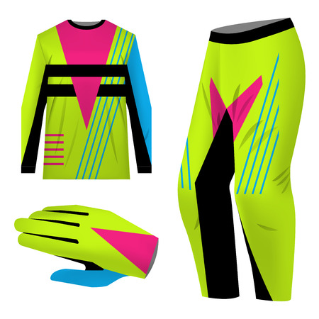 Templates jersey for mountain biking. Jersey for motocross, extreme cycling, downhill. Sublimation print. Sportswear kit design. Design for competition, team wearing. Vector illustration. 免版税图像