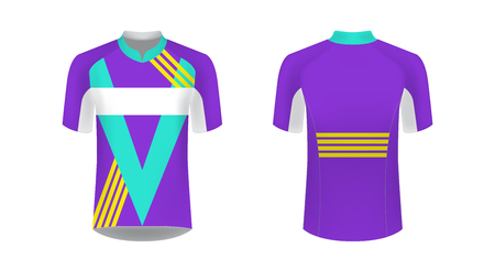 Cycling Jersey vector mockup. T-shirt sport design template. Sublimation printing for sportswear. Apparel blank for triathlon, cycling, running competition, marathon and racing games. Illustration