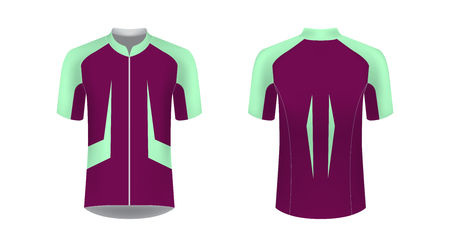 Templates of sportswear designs for sublimation printing. Uniform blank for triathlon, cycling, running competition, marathon and racing games. Vector mockup. Ilustração