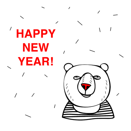 Happy New Year Red Nose Bear. Doodle vector illustration. Ilustração