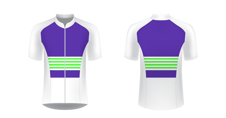 Templates of sportswear designs for sublimation printing. Uniform blank for triathlon, cycling, running competition, marathon and racing games. Vector mockup. Stock Illustratie