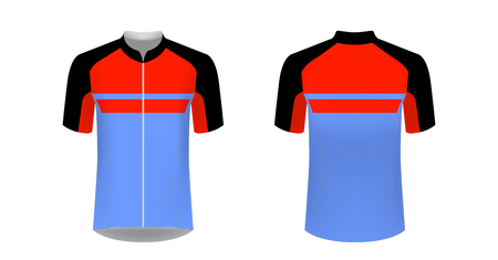 Design for sublimation print. Jersey for cycling sport. Sportswear for cycling tour. Team or club uniform. Jersey for cycling, riding. Sportswear concept, templates.