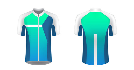 Sportswear templates. Designs for sublimation printing. Uniform blank for triathlon, cycling, cross country, run, marathon, race. Vector mocup. Team or uniform concept. Cycling tour kit design.