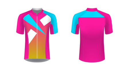 Cycling uniform templates. Gaming casual clothing concept. Uniform for racing, cycling, running, triathlon competitions, marathon. Cycling tour team uniform. Soccer sportswear. Banco de Imagens - 125645075