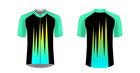 Apparel blank for triathlon, cycling, running competition, marathon and racing games. T-shirt sport design concept. Gaming casual clothing concept. Soccer sportswear. Sublimation print. Tech pack. Banco de Imagens - 120651719