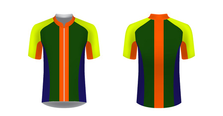 Apparel blank for triathlon, cycling, running competition, marathon and racing games. T-shirt sport design concept. Gaming casual clothing concept. Soccer sportswear. Sublimation print. Tech pack. Illustration