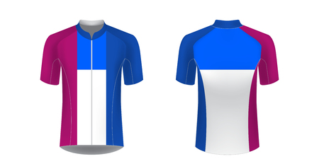Apparel blank for triathlon, cycling, running competition, marathon and racing games. T-shirt sport design concept. Gaming casual clothing concept. Soccer sportswear. Sublimation print. Tech pack. Banco de Imagens - 120691541