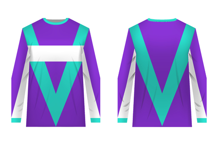 Apparel blank for cycling, mountain bike, motocross. T-shirt sport design concept. Gaming casual clothing concept. Long sleeve soccer sportswear. Sublimation print. Tech pack.
