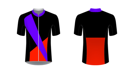 Cycling tour uniform templates. Gaming casual clothing concept. Uniform for racing, running, triathlon, mrathin. Soccer sportswear. Design for sublimation print. Isolated vector mockup.