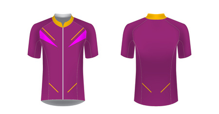 Cycling tour uniform templates. Gaming casual clothing concept. Uniform for racing, running, triathlon, mrathin. Soccer sportswear. Design for sublimation print. Isolated vector mockup. Stockfoto