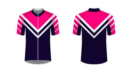 Cycling tour uniform templates. Gaming casual clothing concept. Uniform for racing, running, triathlon, mrathin. Soccer sportswear. Design for sublimation print. Isolated vector mockup. 版權商用圖片