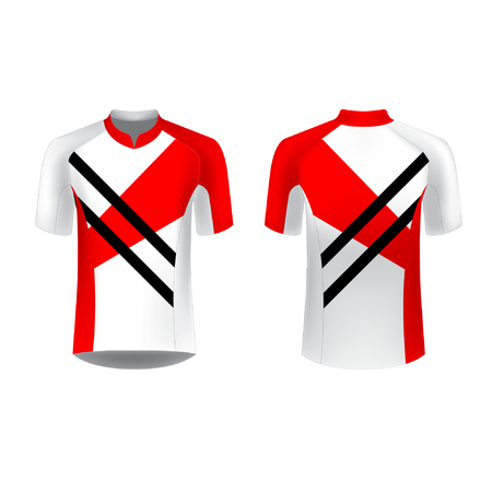 Slim fit t-shirt design. Sportswear design for competitions, promo, racing, gaming, running, cycling tour. Templates for sublimation print blank. Vector illustration. Vettoriali