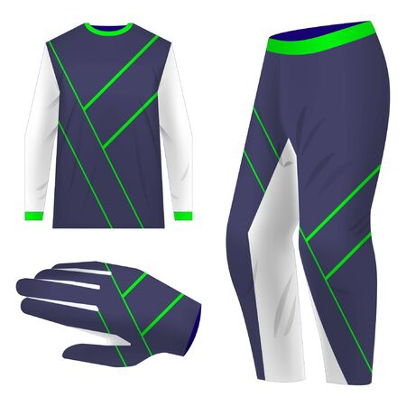 Motocross sportswear kit design. Total look sportswear design for competitions, promo, racing, gaming. Templates jersey for mountain biking, downhill. Sublimation print.
