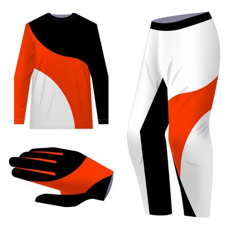 Design del kit di abbigliamento sportivo da motocross. Design di abbigliamento sportivo total look per competizioni, promo, corse, giochi. Maglia modelli per mountain bike, downhill. Stampa a sublimazione. Illustrazione vettoriale.