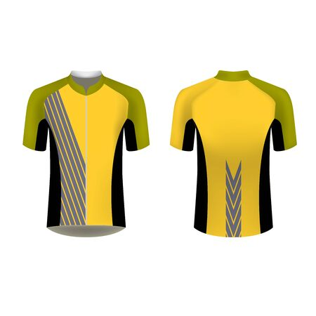 Cycling Jersey mockup. T-shirt sport design template. Sublimation printing for sportswear. Apparel blank for triathlon, cycling, running competition, marathon and racing games. Banco de Imagens