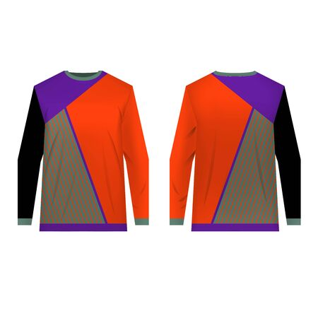 Sportswear design. Equipment for motocross, sports bike, cycling. Vector. Template for custom design. Jersey for MTB. Ilustração