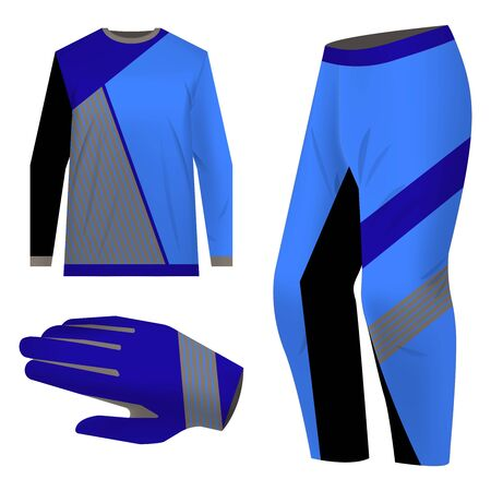Sportswear design. Equipment for motocross, sports bike, cycling. Vector. Template for custom design. Total look uniform for MTB.