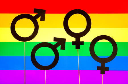 Homosexuality And Gay Pride Banner Gender Symbols Against Lgbt