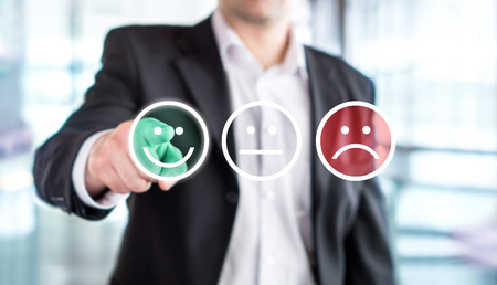 Business man giving rating and review with happy smiley face emoticon icon. Customer satisfaction and service or product quality survey or poll. Modern abstract feedback concept. Banco de Imagens