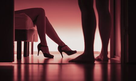 Escort, paid or prostitution. Sexy woman and man silhouette in bedroom. Rape or harassment concept. Girl passed out on bed with high heels in party. Sugar daddy or customer with prostitute.