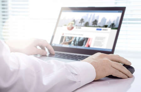 Profile in social media portal. Personal or job website page for employee. Status update, friend request or online message. Follow, like or share post. Man using laptop at home. Business network site.