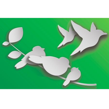 ornithologist: The paper birds sitting on a branch, spring, greens, the nature