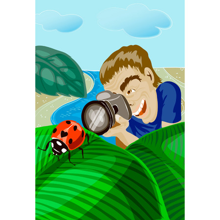 thickets: The photographer photographing a ladybug, macroshooting, against the nature in thickets at the river