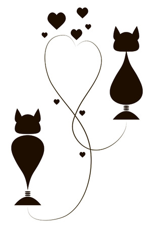 Black cat In love intertwined tails as a heart Vector