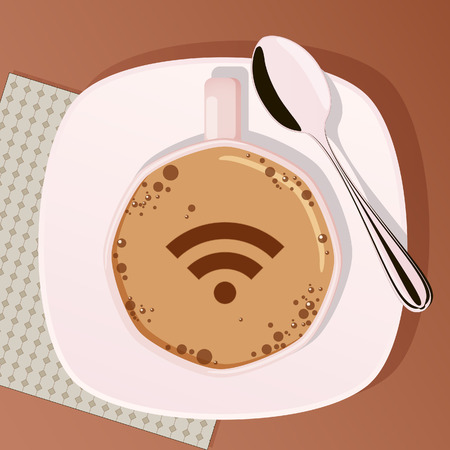 sidewalk cafe: Cup of coffee and spoon with picture of wifi