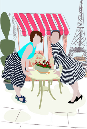 reiteration: Silhouettes in color of two girls on street in Paris without lineament
