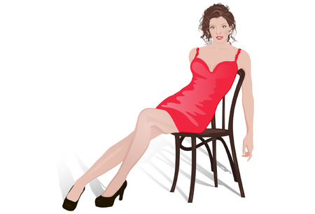 Vector illustration of a sexy young brunette female sitting on the chair. White background.
