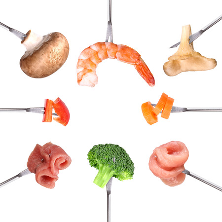 Different ingredients for fondue