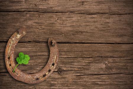 štěstí: Tabule s čtyři-hlávková jetel a podkovy