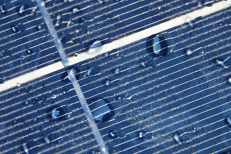 Water drops on photovoltaic panel Stockfoto