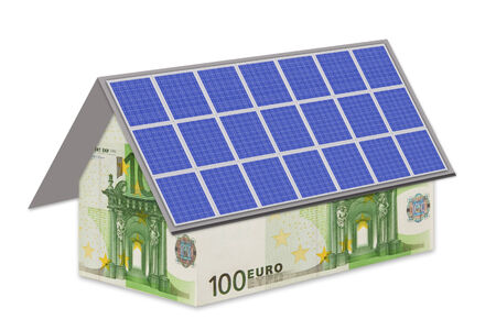 House with euro notes and photovoltaic module