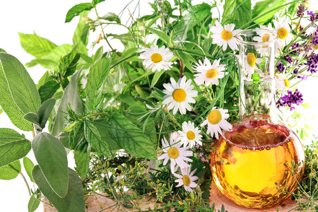 massage oil: Essence with medical plants and fresh herbs