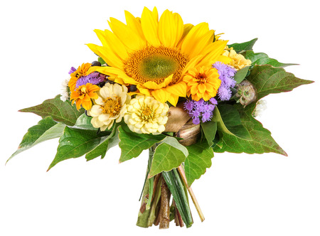 Bouquet with sun flower, sea lavender, zinnia photo