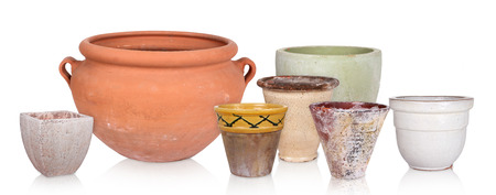 Different flowerpots, isolated photo