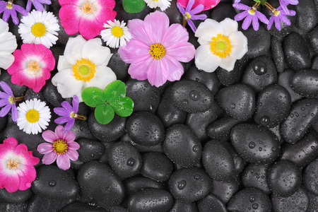 Spa, hot stones and flower background