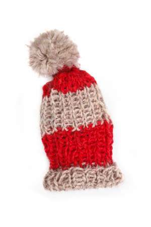 pillowy: Bobble cap, red and beige striped
