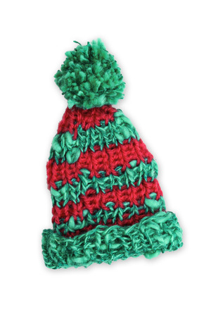 pillowy: Bobble cap red and green striped Stock Photo
