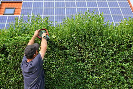 Gardening, house with solar moduls