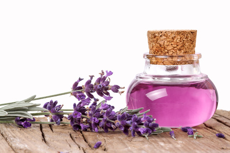 Flask with lavender essence Stockfoto