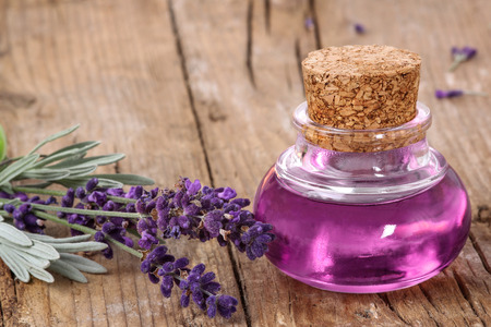 essence: Flask with lavender essence Stock Photo